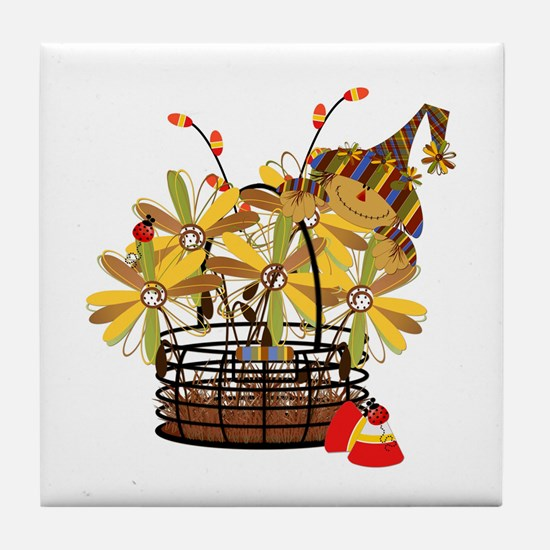 Scarecrow Fall Fowers Tile Coaster