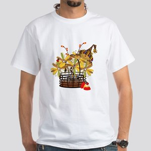 Scarecrow Fall Fowers White T-Shirt