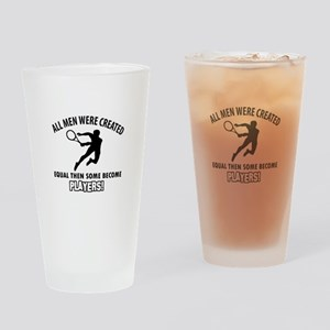 Tennis Players Designs Drinking Glass