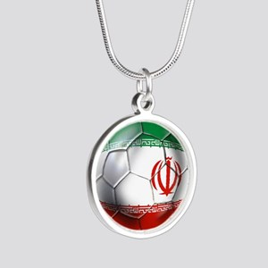 Iran Soccer Ball Silver Round Necklace