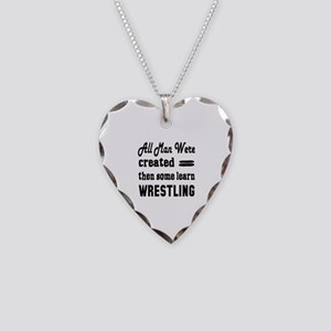 Some Learn Wrestling Necklace Heart Charm