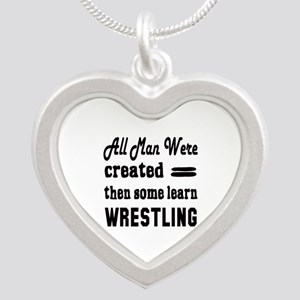 Some Learn Wrestling Silver Heart Necklace