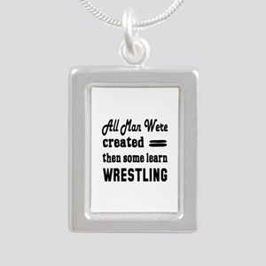 Some Learn Wrestling Silver Portrait Necklace
