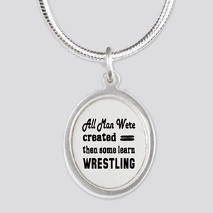 Some Learn Wrestling Silver Oval Necklace
