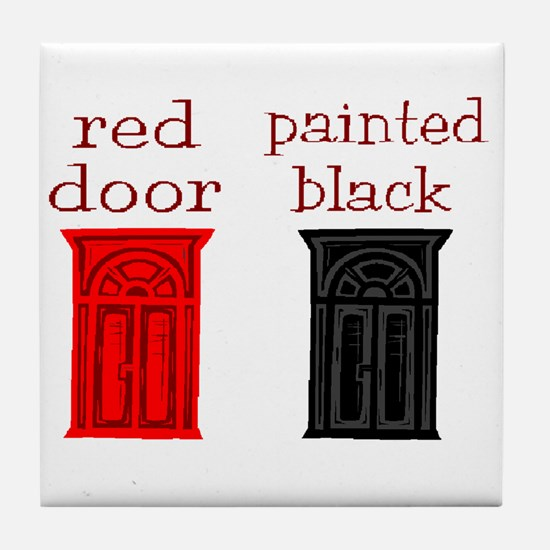 red door painted black Tile Coaster
