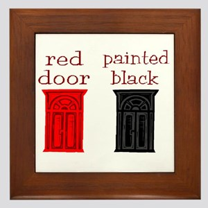 red door painted black Framed Tile