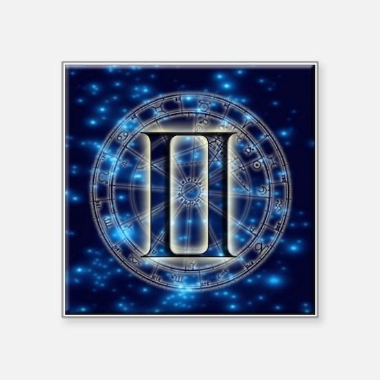 """Astro Symbol Gemini Square Sticker 3"""" x 3"""""""