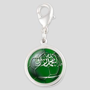 Saudi Arabia Football Silver Round Charm