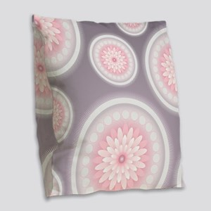 Abstract Floral Mandala Patter Burlap Throw Pillow