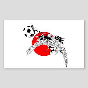 Japan Football Crane Sticker (Rectangle)
