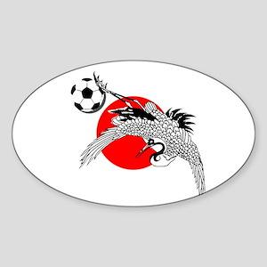Japan Football Crane Sticker (Oval)