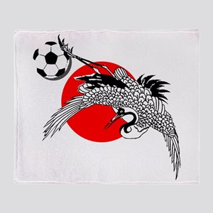 Japan Football Crane Throw Blanket