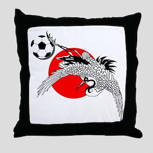 Japan Football Crane Throw Pillow
