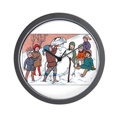 1930's Snow Fun #5 Wall Clock