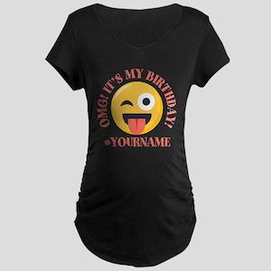 Emoji Wink Birthday Maternity Dark T-Shirt