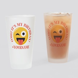 Emoji Wink Birthday Drinking Glass
