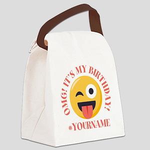 Emoji Wink Birthday Canvas Lunch Bag