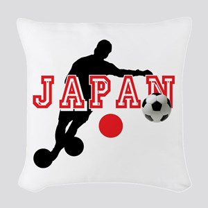 Japan Soccer Player Woven Throw Pillow
