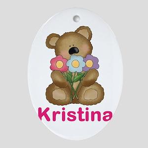 Kristina's Bouquet Bear Oval Ornament