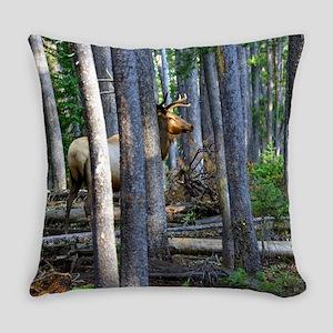 Bull Elk in forest Everyday Pillow