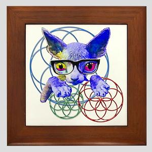 Sphynx kitty sacred geometry 3 Framed Tile