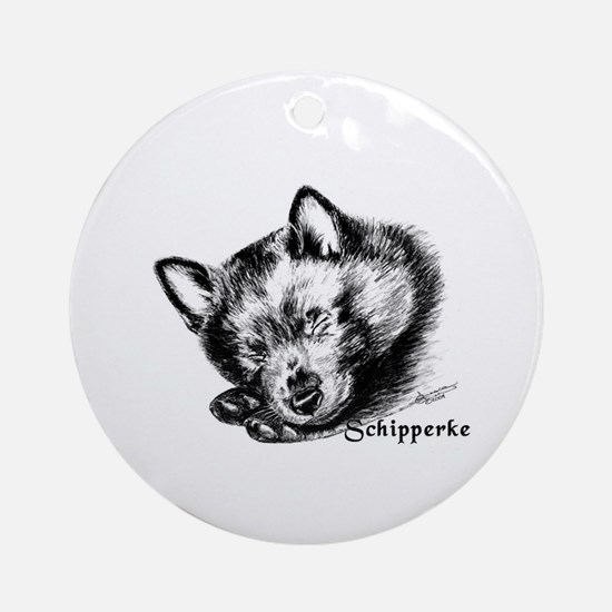 Sleeping Schip Pup Ornament (Round)