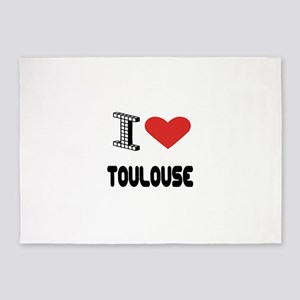 I Love Toulouse City 5'x7'Area Rug