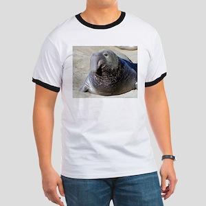 Elephant seal Ringer T - seals front & back!