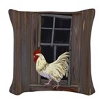 Rooster in the Window Woven Throw Pillow