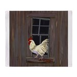 Rooster in the Window Throw Blanket