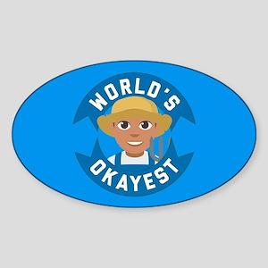 Emoji Worlds Okayest Farmer Sticker (Oval)