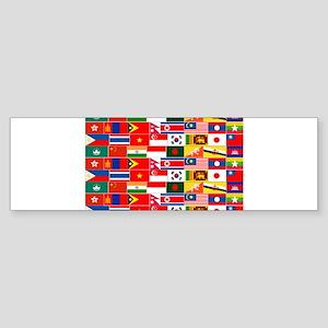Asian Flags Bumper Sticker