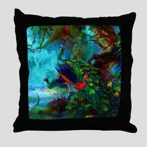 Lotus Peacocks Throw Pillow