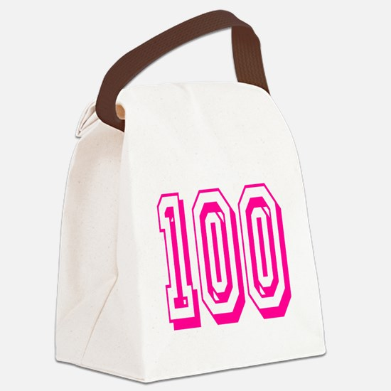 100 Pink Birthday Canvas Lunch Bag