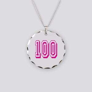 100 Pink Birthday Necklace Circle Charm