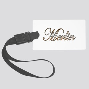 Gold Merlin Large Luggage Tag