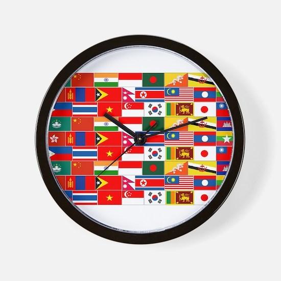 Asian Flags Wall Clock