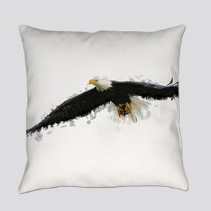 Watercolor Soaring Eagle Everyday Pillow