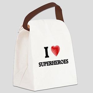I love Superheroes Canvas Lunch Bag
