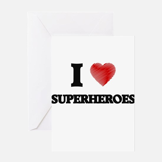 I love Superheroes Greeting Cards
