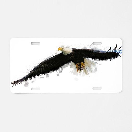 Watercolor Soaring Eagle Aluminum License Plate