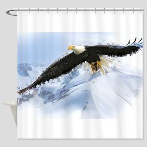 Eagle Soaring Over Alaska Landscape Shower Curtain