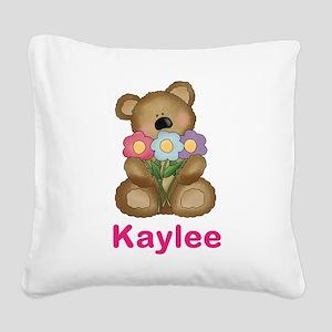 Kaylee's Bouquet Bear Square Canvas Pillow
