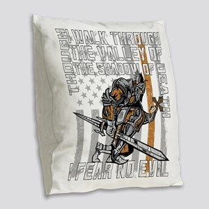 I Fear No Evil Deputy Sheriff Burlap Throw Pillow