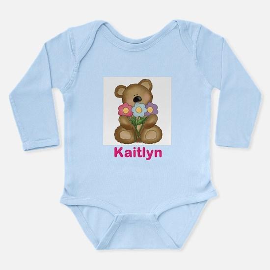 Kaitlyn's Bouquet Bear Long Sleeve Infant Bodysuit
