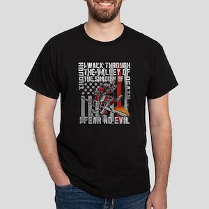 I Fear No Evil Firefighter Crusader Dark T-Shirt