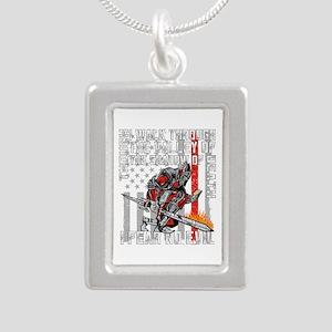 I Fear No Evil Firefight Silver Portrait Necklace