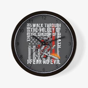 I Fear No Evil Firefighter Crusader Wall Clock