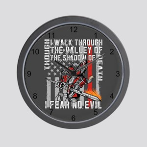 I Fear No Evil Firefighter Crusader Wall Clock