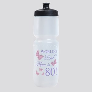 80th Birthday For Mom Sports Bottle